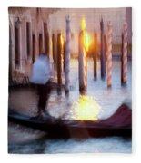 Venice Blue Hour 1 Fleece Blanket