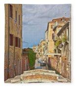 Venice Bridge Crossing 1 Fleece Blanket