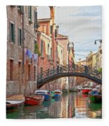 Venice Bridge Crossing 5 Fleece Blanket