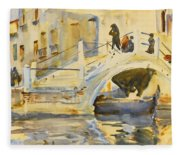 Venice. Bridge With Figures  Fleece Blanket