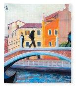 Venice Canal Painting Fleece Blanket