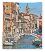 Venice Canaletto Bridging Fleece Blanket