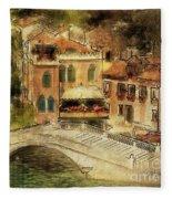 Venice City Of Bridges Fleece Blanket