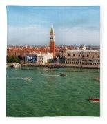 Venice Grand Canal And St Mark's Campanile Fleece Blanket