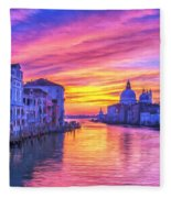 Venice Grand Canal At Sunset Fleece Blanket