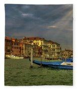 Venice Grand Canal God Sun Rays Fleece Blanket