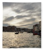 Venice Italy - Pearly Skies On The Grand Canal Fleece Blanket