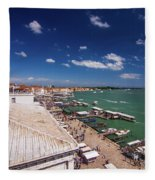 Venice Lagoon Panorama - Bird View Fleece Blanket