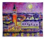 Venice Night View Modern Textural Impressionist Stylized Cityscape Fleece Blanket