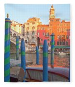 Venice Rialto Bridge Fleece Blanket