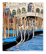 Venice Sunny Rialto Bridge Fleece Blanket