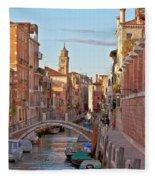 Venice Waterway Fleece Blanket