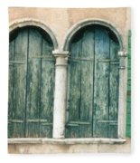 Venice Window Flower Pot Fleece Blanket