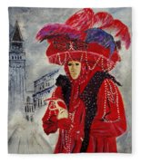 Venitian Mask 0130 Fleece Blanket