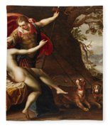 Venus And Adonis With Hounds Fleece Blanket