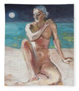Venus Of The Moon Fleece Blanket
