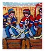 Verdun Hockey Rink Paintings Edmonton Oilers Vs Hometown Habs Quebec Hockey Art Carole Spandau       Fleece Blanket