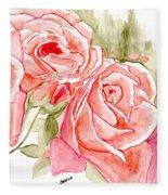 Vermilion Pink Roses Fleece Blanket