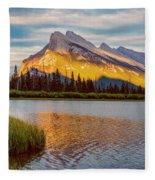 Vermillion Lakes And Mt Rundle II Fleece Blanket