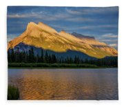 Vermillion Lakes And Mt Rundle Fleece Blanket