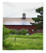 Vermont Barn With Tire Swing Fleece Blanket