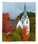 Vermont Church In Autumn Fleece Blanket