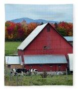 Vermont Cows At The Barn Fleece Blanket
