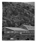 Vermont Farm With Cows Autumn Fall Black And White Fleece Blanket