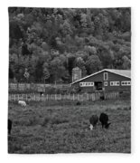 Vermont Farm With Cows Black And White Fleece Blanket