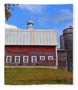 Vermont Farm Woodstock Vt Red Barn Fleece Blanket