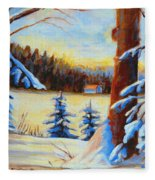 Vermont Log Cabin Maple Syrup Time Fleece Blanket