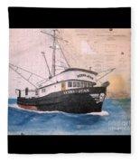 Verna Jean Fishing Boat Nautical Chart Map Fleece Blanket
