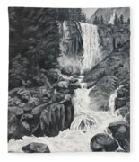 Vernal Falls Black And White Fleece Blanket
