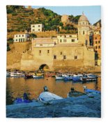 Vernazza, Italy, At Sunset Fleece Blanket