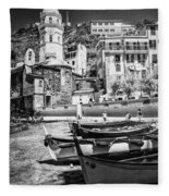 Vernazza Boats And Church Cinque Terre Italy Bw Fleece Blanket