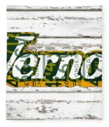 Vernors Beverage Company Recycled Michigan License Plate Art On Old White Barn Wood Fleece Blanket