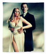 Veronica Carlson And Peter Cushing Fleece Blanket