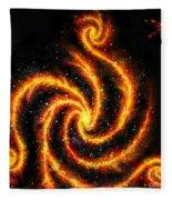 Very Big Red Gold Spiral Galaxy Fleece Blanket