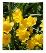 Very Sunny Yellow Flowers Fleece Blanket