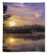 Vibrant Sunrise On The Androscoggin River Fleece Blanket