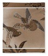 Victorian Birds In Sepia Fleece Blanket