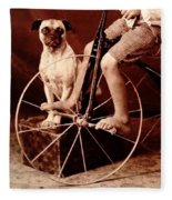 Victorian Boy With Pug Dog And Tricycle Circa 1900 Fleece Blanket