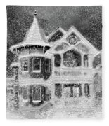 Victorian Christmas Black And White Fleece Blanket