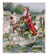 Victorian Christmas Card Depicting Saint Nicholas Fleece Blanket
