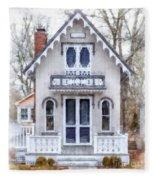 Victorian Cottage Watercolor Fleece Blanket