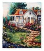 Victorian House With Gardens Fleece Blanket