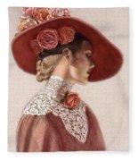Victorian Lady In A Rose Hat Fleece Blanket