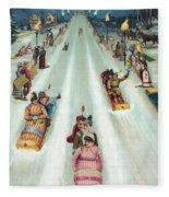 Victorian Poster Of Night Sledding Fleece Blanket