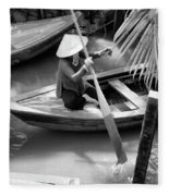 Vietnamese Woman Boat Ores Really For Tourist Mekong Delta  Fleece Blanket