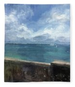 View From Bermuda Naval Fort Fleece Blanket